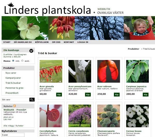 webbutik för ovanliga växter